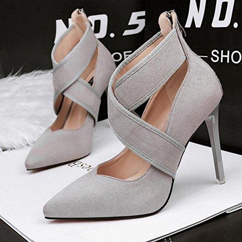 L@YC Frauen High Heels Spitz Gekreuzte Riemen Mit 10cm Wildleder Schuhe Gray