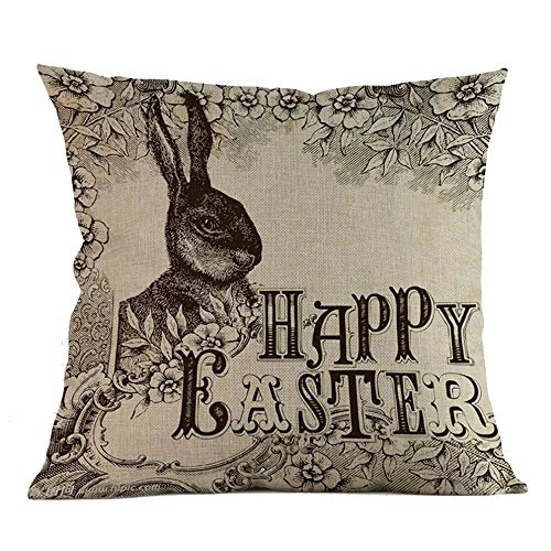 (E-Scenery Clearance Sale! Throw Pillow Cases, Happy Easter Bunny Egg Linen Cherish Square Decorative Pillow Covers Cushion Cases for Sofa Bedroom Car Home Decor, 18 x 18 Inch (B))