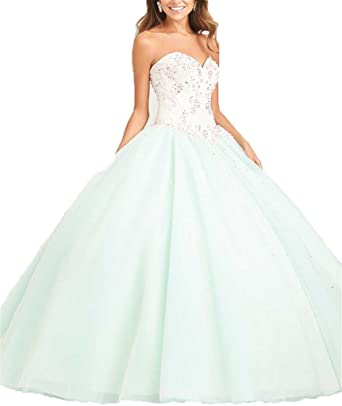 Womens Sweetheart Neck Prom Ball Gown Lace Beaded Floor Length Quinceanera Dress 0 US Mint Green