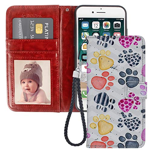 Paw Prints Wallet (Paw Print Wallet case for iPhone 7 8 Plus PU Leather Wristlet Folio TPU Stand Case with Card Slots Magnetic Closure Wrist Strap iPhone 7 Plus 8 Plus Wallet Case)