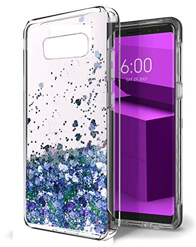 Price comparison product image Urberry Galaxy Note 8 Case, Flowing Liquid Floating Luxury Bling Glitter Sparkle Hard Case for Samsung Galaxy Note 8 with a Free Screen Protector (Blue)