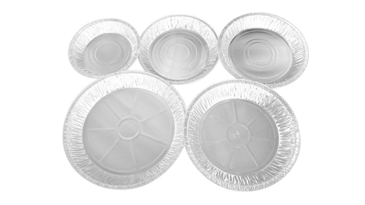 KitchenDance Disposable Aluminum Pie Pan Combo Pack- 10 of each size for 50 total pie pans