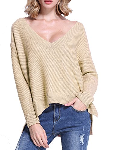 Firpearl Women's Deep V Neck Rib Knitted Hi-Lo Tunic Sweater Apricot S