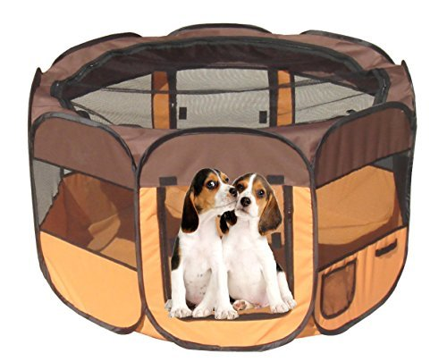 All-Terrain' Lightweight Easy Folding Wire-Framed Collapsible Travel Pet Playpen, Large, Brown And Orange by Pet Life