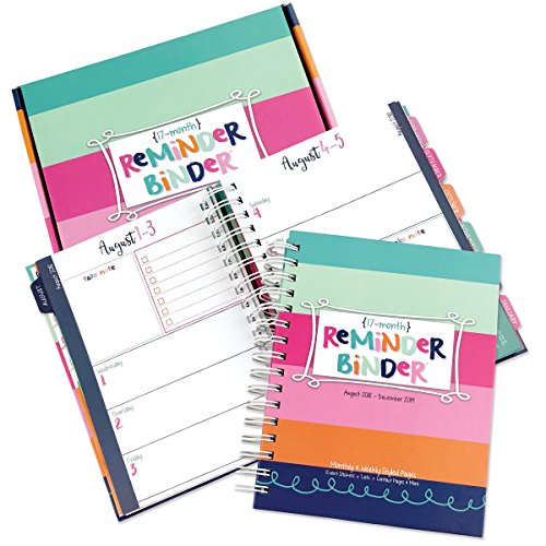 2018-2019 (17-Month) Planner with Weekly & Monthly Horizontal Layout, 6.5'' x 8.5'', Twin-Wire Binding, Hard Cover, Elastic Closure, Planner Stickers, to-Do Lists, Pockets & Dividers by Reminder Binder by Denise Albright