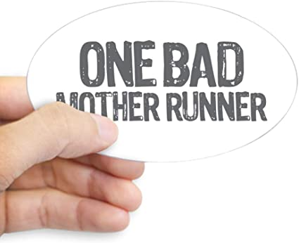 Oval 698720598 CafePress One Bad Mother Runner Pink Sticker