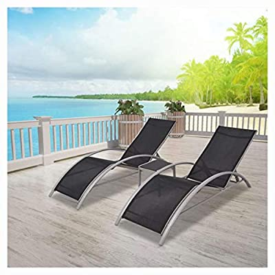 K&A Company Sunloungers, Sun Loungers with Table Aluminium Black