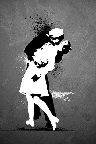 War's End Kiss Graffiti Poster Print