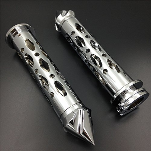 "HTT- Motorcycle CNC Made Chrome 7/8"" 22mm Spike Bar Ends Grips For Kawasaki Ninja 250 500 ZX6 ZX7 ZX9 ZX10 ZX12 ZX14 ( All Models and Years)"