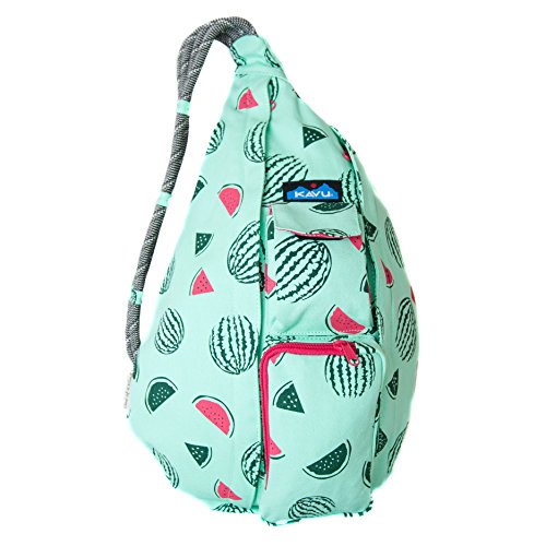 - KAVU Rope Bag Shoulder Sling Cotton Crossbody Backpack - Watermelon,One Size