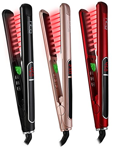 HTG Pro Flat Iron with Infrared Ionic Technology Hair Straightener 1 inch Titanium Ion Ceramic Tourmaline Plates LCD Display Dual Voltage Suitable for All Hair Types Makes Hair Shiny & Silky Heats Up