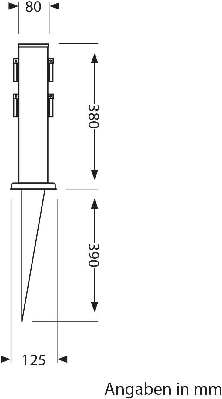 38cm a 4 Vie ledscom.de Colonna da Giardino Polly con Prese con picchetto interrabile e 2m Cavo da Esterno angolare Acciaio Inox
