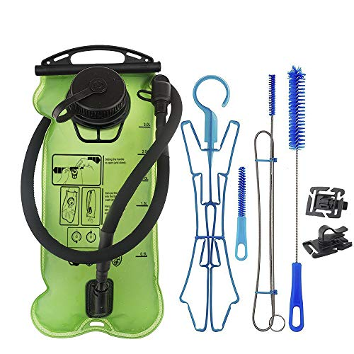 - Hydration Bladder 3 Liter, TPU Water Bladders with Hydration Cleaning Kit and Hydration Tube Clips, Water Reservoir FDA LFGB Certificate Leak Proof for Cycling Hiking (Bladder + Clips + Cleaning Kit)