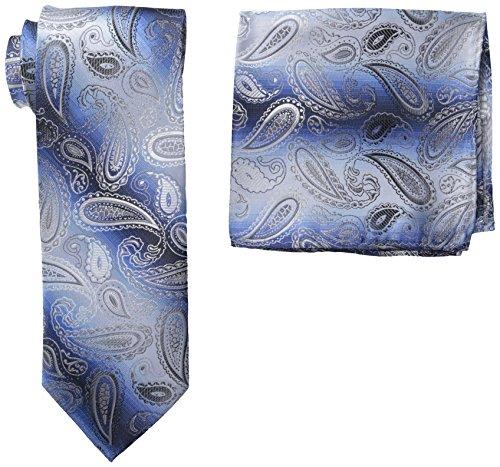 Stacy Adams Men's Microfiber Pasiley Print Tie Set, Blue, One Size (Stacy Adams Ties)