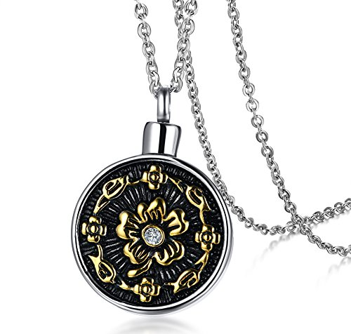 (HUANIAN Stainless Steel Antique Finish Flower Round Shaped Ash Pendant Cremation Urn Necklace)