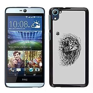 Caucho caso de Shell duro de la cubierta de accesorios de protección BY RAYDREAMMM - HTC Desire D826 - Tigre enojado