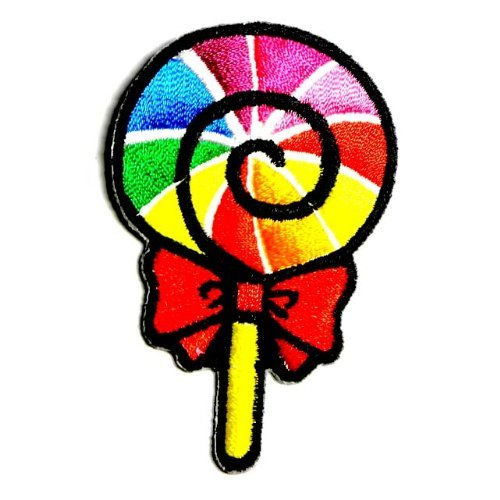 (Rainbow Fancy Sweet Lollipop Candy Kid Appliques Hat Cap Polo Backpack Clothing Jacket Shirt DIY Embroidered Iron On / Sew On Patch)