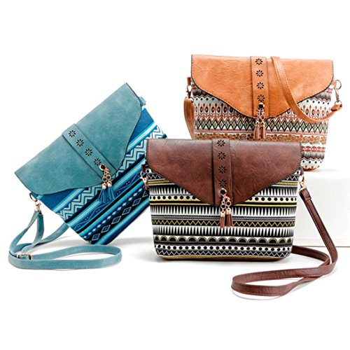 Las mujeres flor impresión bolsos bolsa de hombro bolsa, brezeh dulce patrón Messenger Bag, negro azul