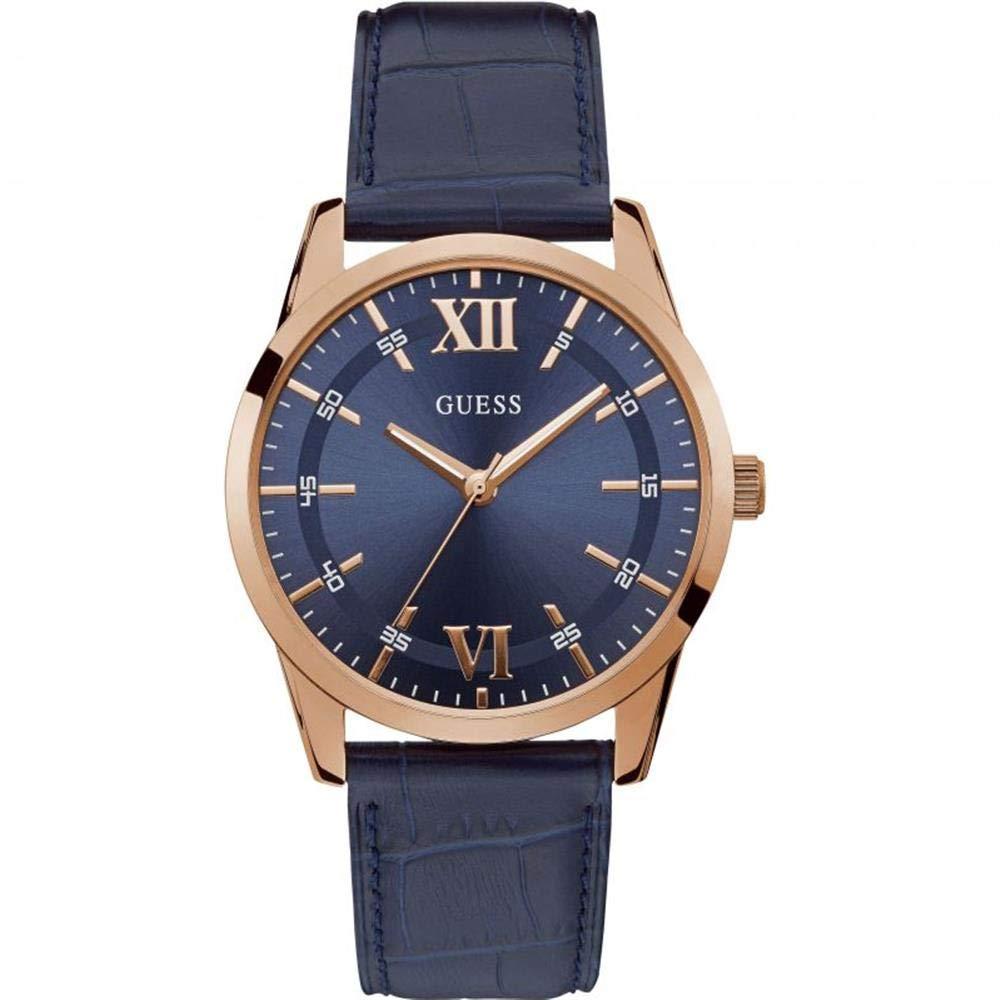 GUESS Reloj analógico de cuarzo con caja de acero de 42 mm, correa de cuero azul para hombre W1307G2