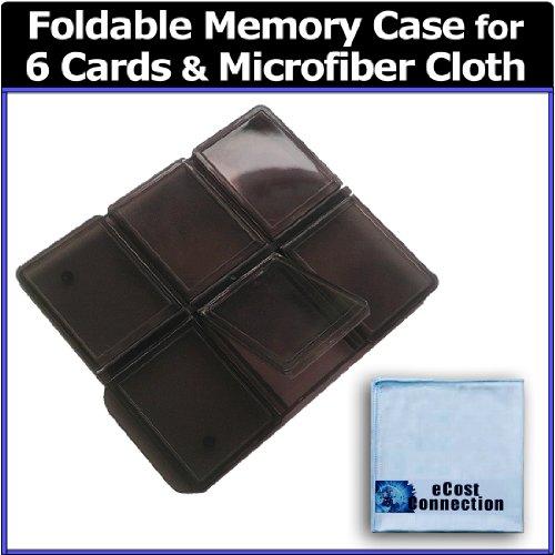 eCost 6pc Foldable Memory Card Case + Microfiber Cloth - 6pc Multi Memory Card Holder