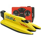 eMart Radio Remote Control Boat High Speed Rowing 2.4G 4CH RC Racing Boat with Dual Propellers Electric Toy - Yellow