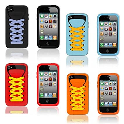 Amazon.com: Shoelace Silicon Skin Case Cover for iPhone 4 ...