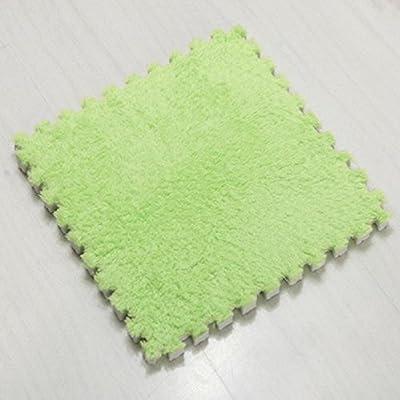 "Ladaidra Floor Mats, EVA Soft Foam Suede Surface Comfortable Washable Cushion for Kids Babies Children, 11.81"" x 11.81"" x 0.39"", Green Pack of 5"