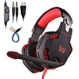 Mengshen Stereo Gaming Headset - Over Ear Headphones with Mic, Bass Vibration, Noise Cancellation Surround Sound and Volume Control for PC, Laptop, Mac, PS4, Xbox One - G2100 Red