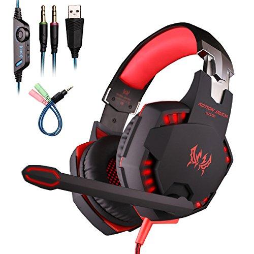 Mengshen Stereo Gaming Headset - Auriculares para colocar sobre las orejas con micrófono, vibración de bajos, cancelación de ruido, sonido envolvente y control de volumen para PC, computadora portátil, Mac, PS4, Xbox One - G2100 Rojo