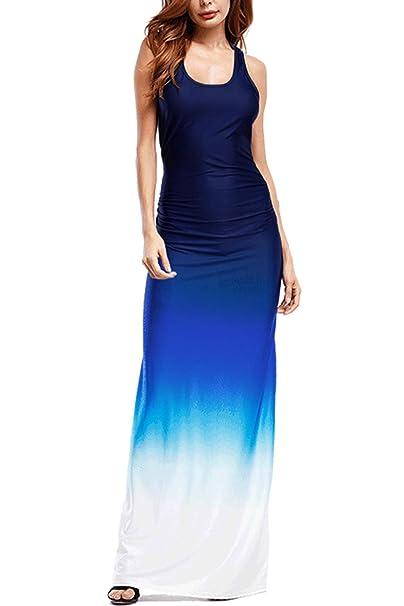 c68fc7eac6 WIWIQS Women`s Tie Dye Ombre Dress Tank Top Casual Maxi Long Dress Dark Blue