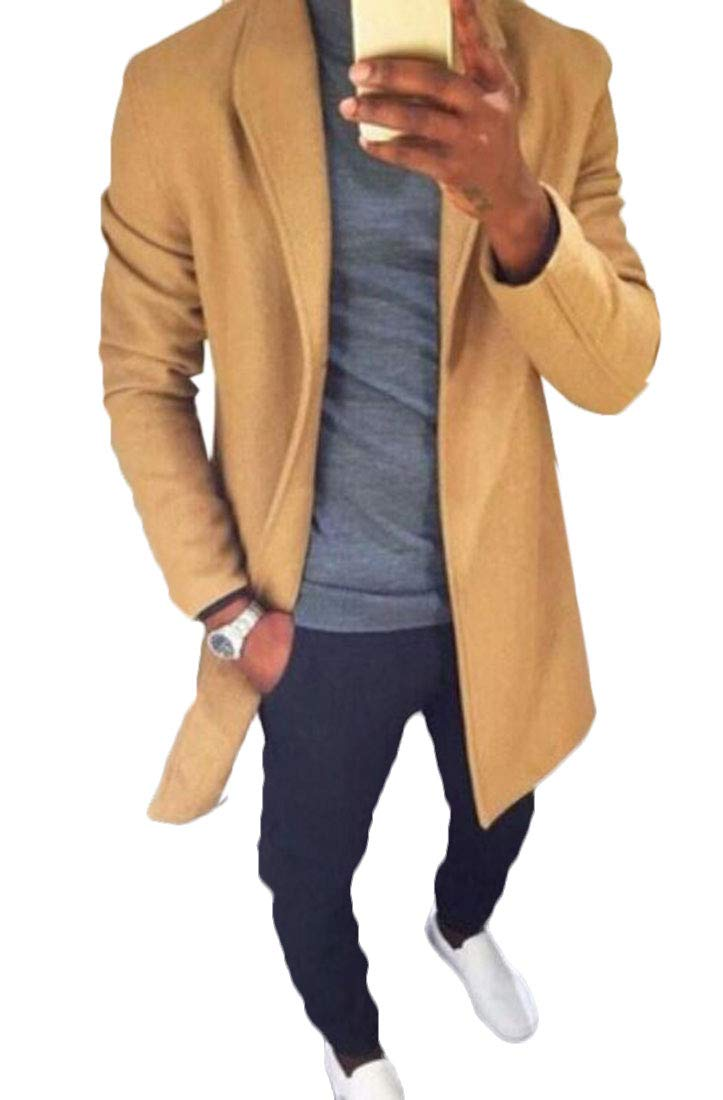 Domple Mens Classic Pockets Open Front Stand Collar Long Jacket Coat Yellow S