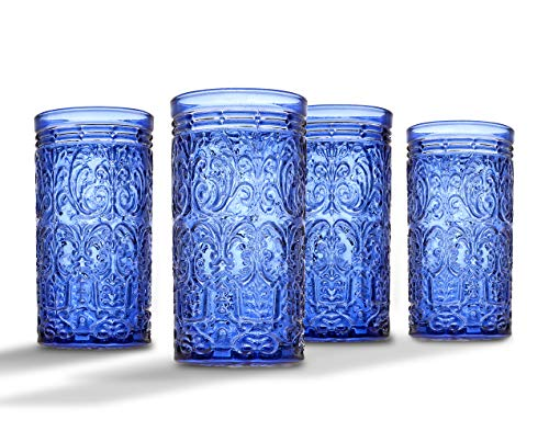 Jax Highball Beverage Glass Cup by Godinger - Blue - Set of 4 ()