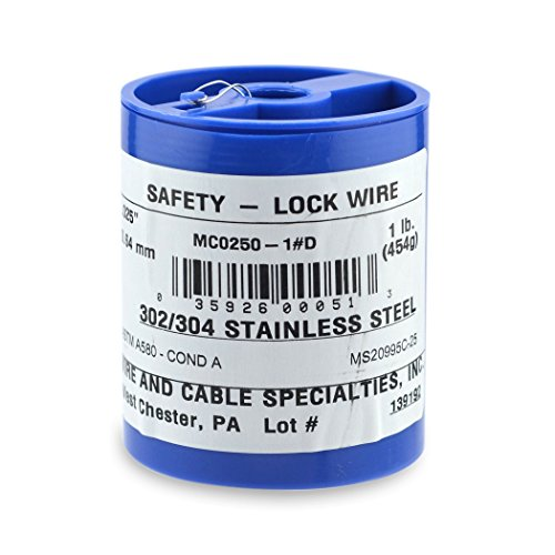 Wire and Cable Specialties MC0250-1#D Safety Lockwire MS20995C25 .025 in (0.63 mm), 1 lb (0.45 kg) Disp, appx 595 ft (82 m)