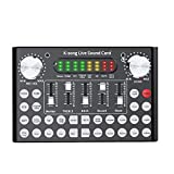 Ouying V10 Live Sound Card Voice Changer Device, with Bluetooth&Sound Effect, Femate 2-Channel Mini Audio Mixer Board, for Ps4 Xbox One Switch Phone Computer Laptop Tablet Dj Music Karaoke Singing