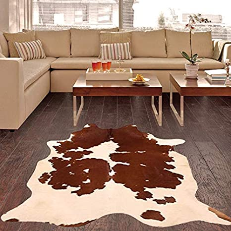 A Star Western Brown Cowhide Rug Best Cow Hides Area Rug 5 X 6 Home Kitchen Amazon Com