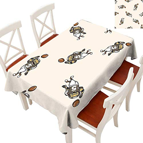 Football Decorative Textured Fabric Tablecloth Pattern of Cartoon Player Running with The Ball Training for The Game Rug Runners, Gatsby Wedding, Glam Wedding Decor, Vintage WeddingsTaupe Brown White