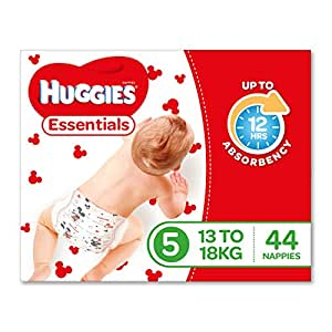 Huggies Essentials Nappies, Size 5 Walker (13-18kg), 44 Count