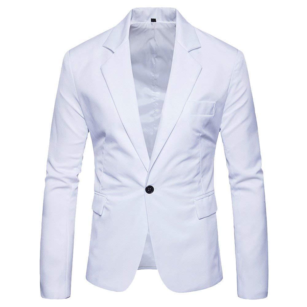 Herren EIN Knopf Blazer Gentleman Anzugjacke Slim Fit Einfacher Stil Sakko Mantel Bankett Party Elegant Smoking Mantel