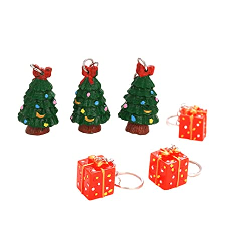 Amosfun 6pcs llaveros de navidad creativo resina árbol de ...