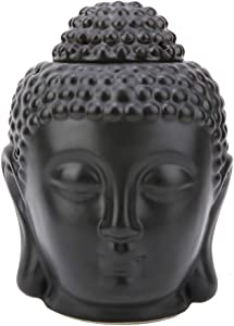 Tealight Holder Black Buddha Head Shaped Essential Oil Burner Incense Diffuser Candle Holder for Home Ornament