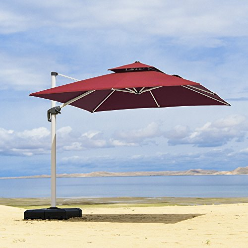 PURPLE LEAF 8 Feet Double Top Deluxe Square Patio Umbrella Offset Hanging Umbrella Outdoor Market Umbrella Garden Umbrella, Terra For Sale