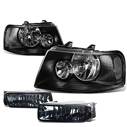 For Ford Expedition U222 Pair of Black Housing Clear Corner Headlights + Smoked Lens Fog Lights