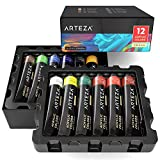 Arteza Acrylic Paint Set, 12 Colours/Tubes (22ml/0.74 oz.) with Storage Box, Rich, Pigments, Non Fading, Non Toxic for The Professional Artist, Hobby Painters & Kids