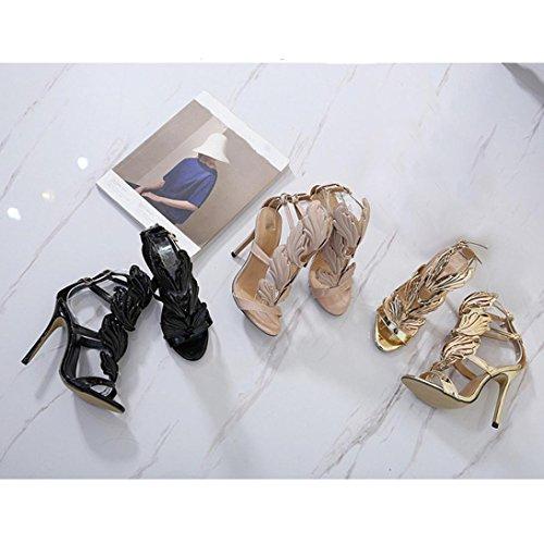IGEMY Super beliebte Mode Frauen Pumpen Blatt Flame High Heel Schuhe, fantastische Peep Toe High Heels Sandalen Schwarz