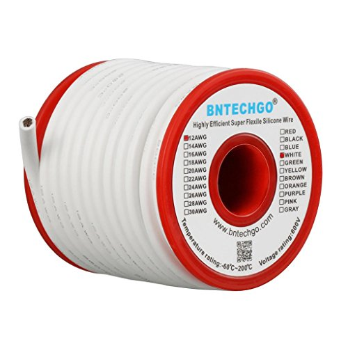 BNTECHGO 12 Gauge Silicone Wire Spool White 25 feet Ultra Flexible High Temp 200 deg C 600V 12AWG Silicone Rubber Wire 680 Strands of Tinned Copper Wire Stranded Wire for Model Battery Low Impedance