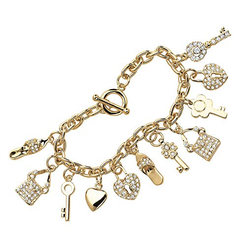 Seta Jewelry Pave White Crystal 14k Yellow Gold-Plated Shoe, Purse, Heart Lock and Key Charm Bracelet 7.5