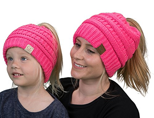 gWBT.KBT-6020a-80 Mother & Child Matching Beanie Bundle (MESSY BUN): Candy Pink
