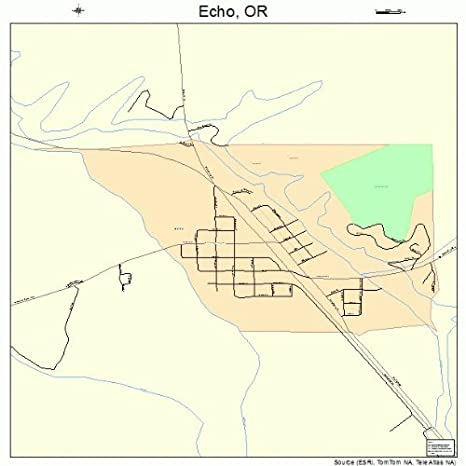 Amazon Com Large Street Road Map Of Echo Oregon Or Printed