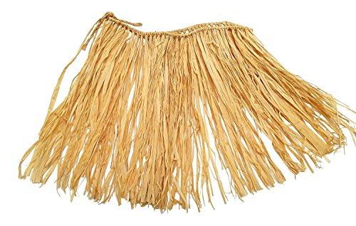 Small Hawaiian Hula Skirts For Kids: Natural Raffia Grass, 24 Inch Waist, 12 Inches Long, Set of - Child Hula Skirt Raffia