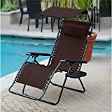 Jeco Inc. Oversized Olefin Zero Gravity Chair with Sunshade and Drink Tray – Mocha Review